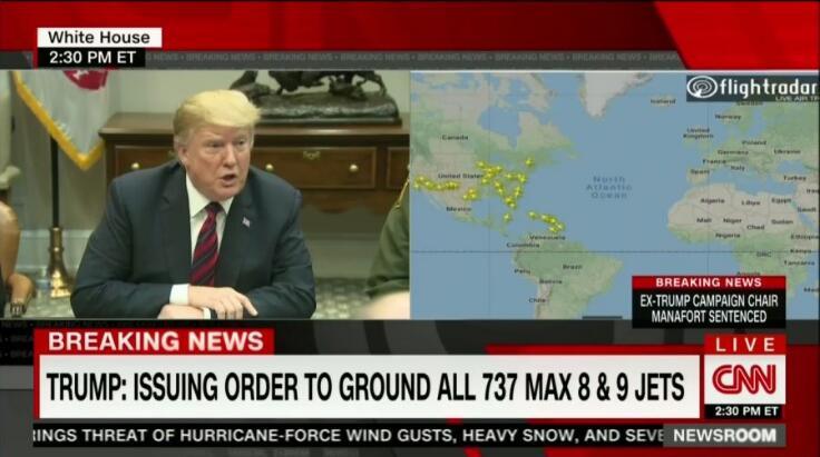 """特朗普签署""""紧急命令"""":要求全部波音737MAX8和MAX9机型停止执飞,加拿大还不跟上?"""