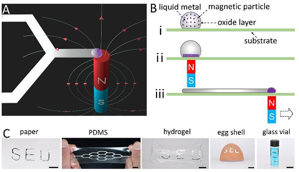 东南大学刘宏教授课题利用磁场实现液态金属图案化