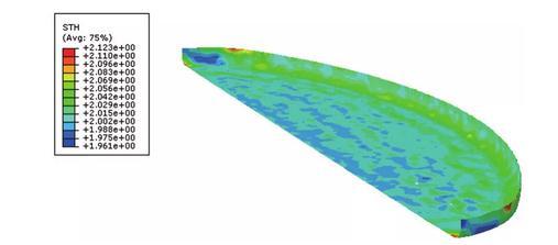 大端顶零件在成形工艺分析起皱区域