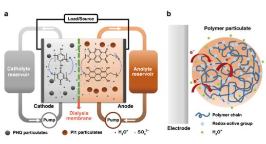 """南京大学金钟教授研究团队制备出一种水系分散聚合物微粒""""泥浆""""电池"""