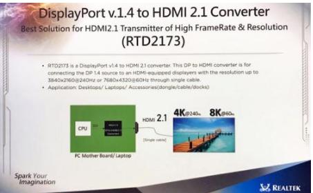 瑞昱(Realtek)推出基于RTD2173的DisplayPort 1.4转HDMI 2.1方案