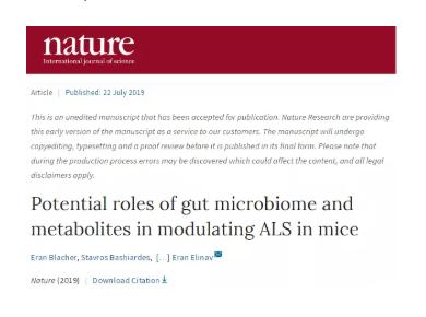 肠道微生物组将为ALS(渐冻症)治疗提供新方向