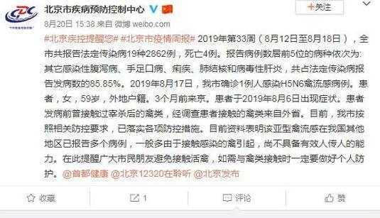 北京确诊1例人感染H5N6禽流感病例