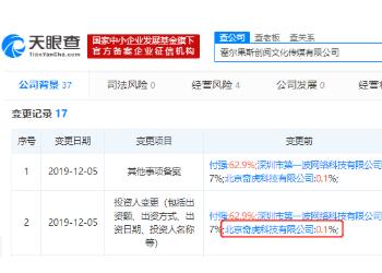 霍爾果斯發生投資人變更,北京奇虎科技有限公司退出
