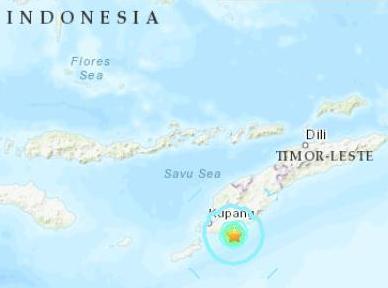 帝汶岛海域地震突发,震源深度10千米