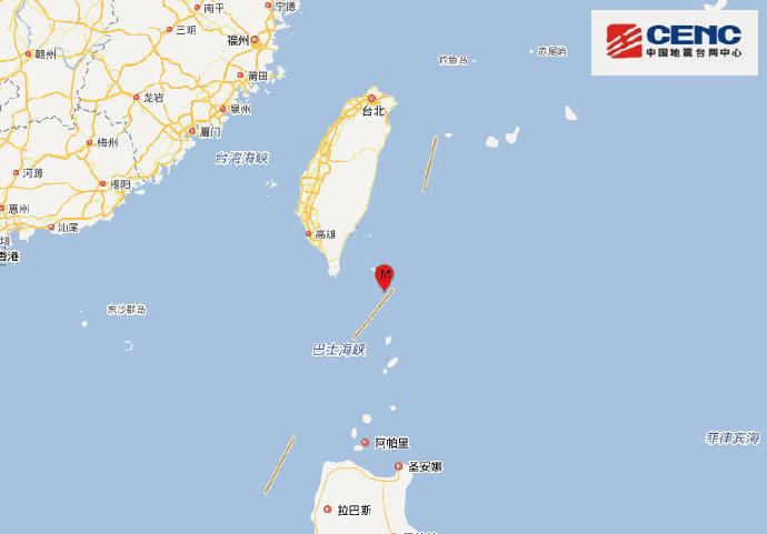 台湾台东县海域,发生4.1级地震,震源深度10千米