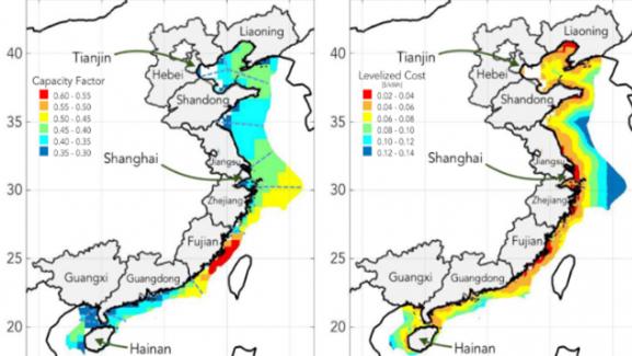海上风力发电场,中国沿海地区供能1610吉瓦
