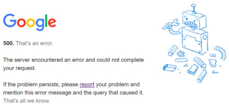 谷歌崩了,病倒了,连 Google Search 都不能用,官方道歉