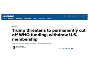 特朗普威胁称永久断供世卫组织,拟退出世卫组织