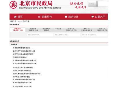 2019年度北京养老服务机构失信名单公布,13家机构上榜