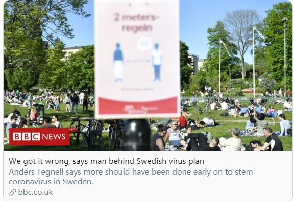 """群体免疫导致了太多的死亡,瑞典""""大脑级人物""""承认""""犯了错"""""""
