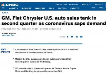 通用、丰田和菲亚特克莱斯勒在美销量均暴跌30%以上
