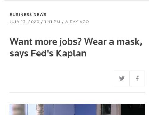美国现在戴口罩能让经济复苏吗?金融机构称口罩挽救美国GDP