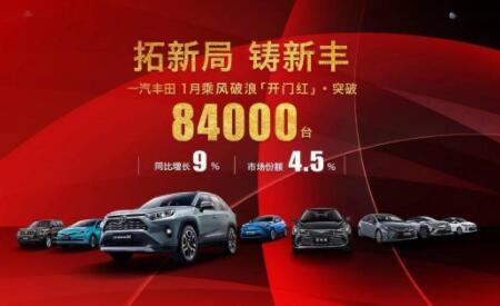 一汽丰田2021年1月销量再创历史新高,同比增长9%