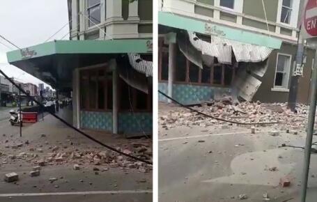 澳大利亞5.9級地震 震塌墨爾本樓房:一建筑側面嚴重受損,地面一片瓦礫殘骸