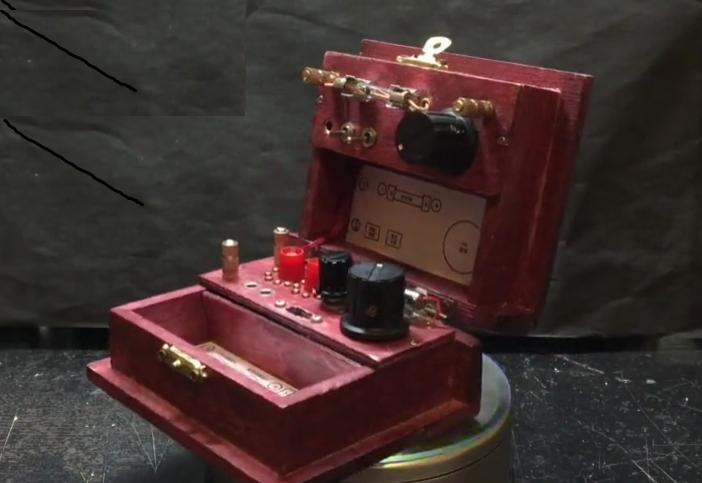 自制矿石检波器及波段开关的迷你小木盒矿石收音机
