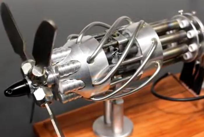16气缸气动斯特林发动机演示