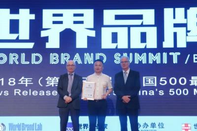 肯帝亚获2018年度中国500最具价值品牌