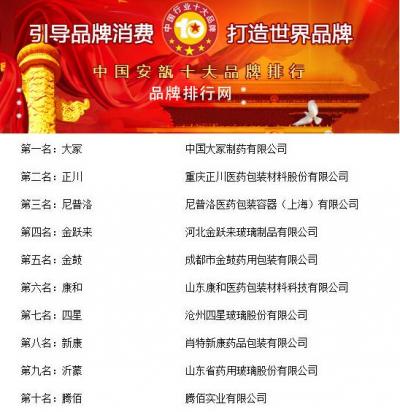 """""""2018年度中国安瓿十大品牌总评榜""""荣耀揭晓"""