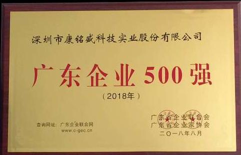 """长方集团康铭盛连续四年获""""广东企业500强""""称号"""