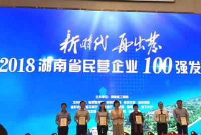 2018湖南省民营企业100强名单发布 三一位居第2位