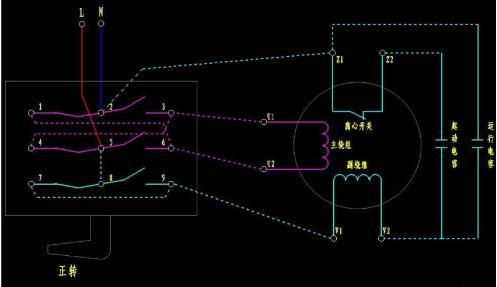单相电机正反转接线图解及倒顺开关接法