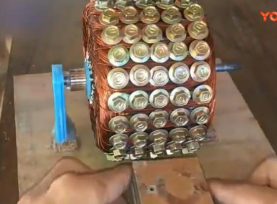用120颗螺丝制造一个直流电机, 动力超乎想象, 太强悍了