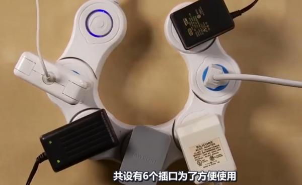 美国高中生发明神奇插座, 6个孔能弯曲扭动, 还能用手机控制开关