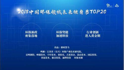 2018中国环保领域未来独角兽TOP20榜单
