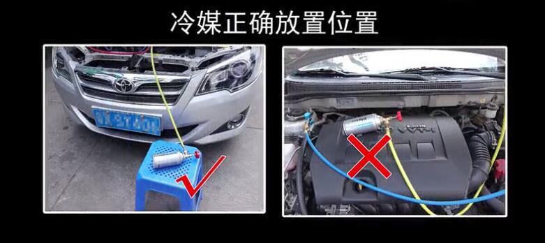 小汽车空调加氟方法图解教程(实例:三和牌134a冷媒充注丰田轿车)