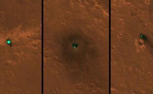 火星勘测轨道飞行器HiRISE相机拍到洞察号火星探测器着陆照片