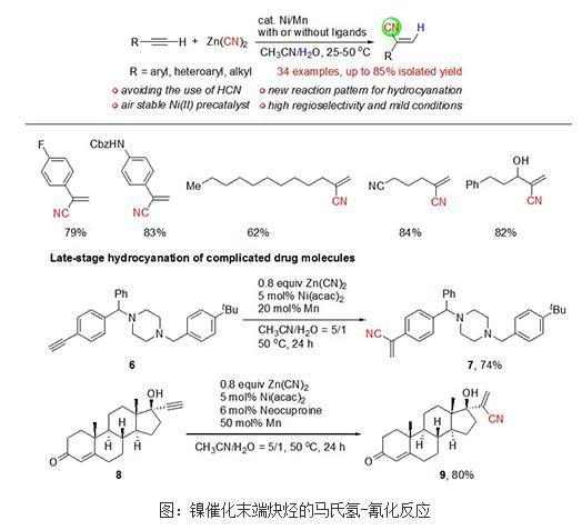 末端炔烃在温和条件下的高区域选择性的氢-氰化反应