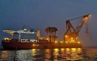创纪录!国内目前最大的单体海上风机导管架吊装完成