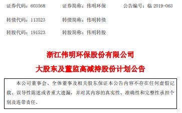 伟明环保大股东伟明集团及董监高拟合计减持不超1.89%股份