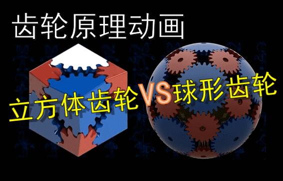 齿轮原理动画:立方体齿轮VS球形齿轮