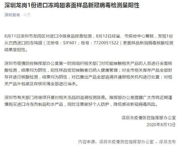 深圳進口凍雞翅表面樣品被檢測到新冠病毒,進口肉還能吃嗎?