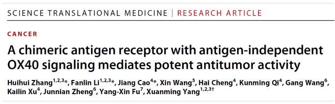 新型CAR-T疗法面世:有效率100% 且是首次发现抗原非依赖OX40信号