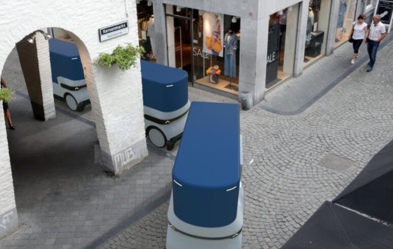 可穿梭在人行道的微型自动驾驶货运车