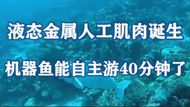 液态金属人工肌肉诞生,机器鱼能自主游40分钟了